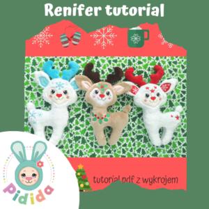 Renifer świąteczny przytulanka tutorial