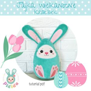 jajko wielkanocne królik do uszycia na hafciarce w tamborku in the hoop ITH