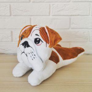 buldog angielski pies pluszowy, przytulanka zabawka buldog