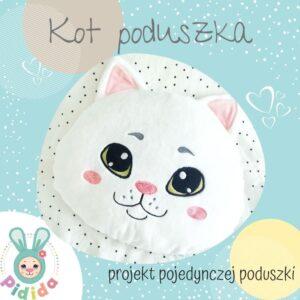 Kot bez łat projekt wykrój na poduszkę dla dzieci, poduszka w kształcie kota do uszycia