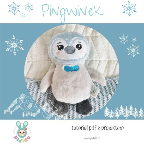 Pingwin wykrój pluszaka, maskotka do uszycia na hafciarkę metodą ITH in the hoop
