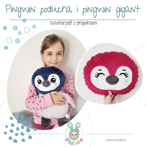 poducha pingwin i pingwin gigant wykrój z tutorialem i haftami na hafciarkę, projekt do uszycia