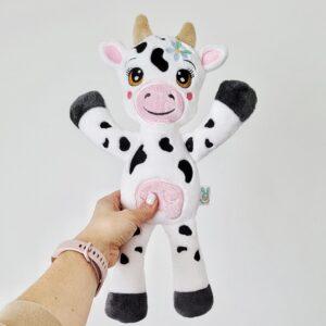 krówka czarno biała łaciata, krowa przytulanka dla dzieci z długimi kopytkami, haftowana krowa