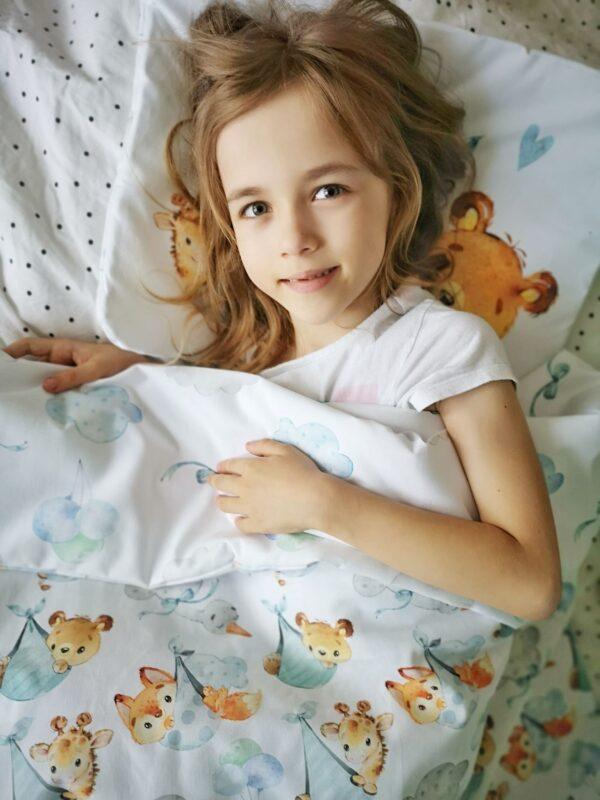 podniebne słodziaki niebieskie, pościel, rożek dla niemowlaka