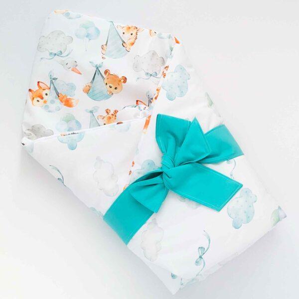 Rożek niemowlęcy i dla wcześniaków podniebne słodziaki niebieski, dwustronny bawełniany na pierwsze dni życia