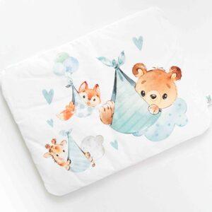 płaska poduszka dla niemowlaka i dziecka podniebne słodziaki niebieskie w zwierzątka, baloniki i chmurki