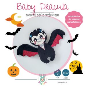 Baby Dracula wampir przytulanka projekt do uszycia na hafciarce