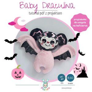 Baby wampirka Draculina projekt maskotki do uszycia na hafciarce na Halloween
