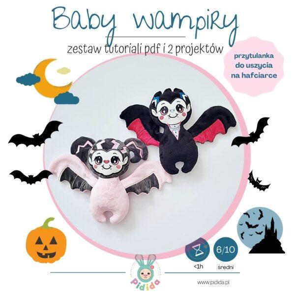 Zestaw projektów baby wampiry do uszycia maskotek na hafciarce